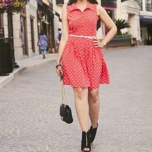 Fit Flare button front polkadot Sleeveless dress